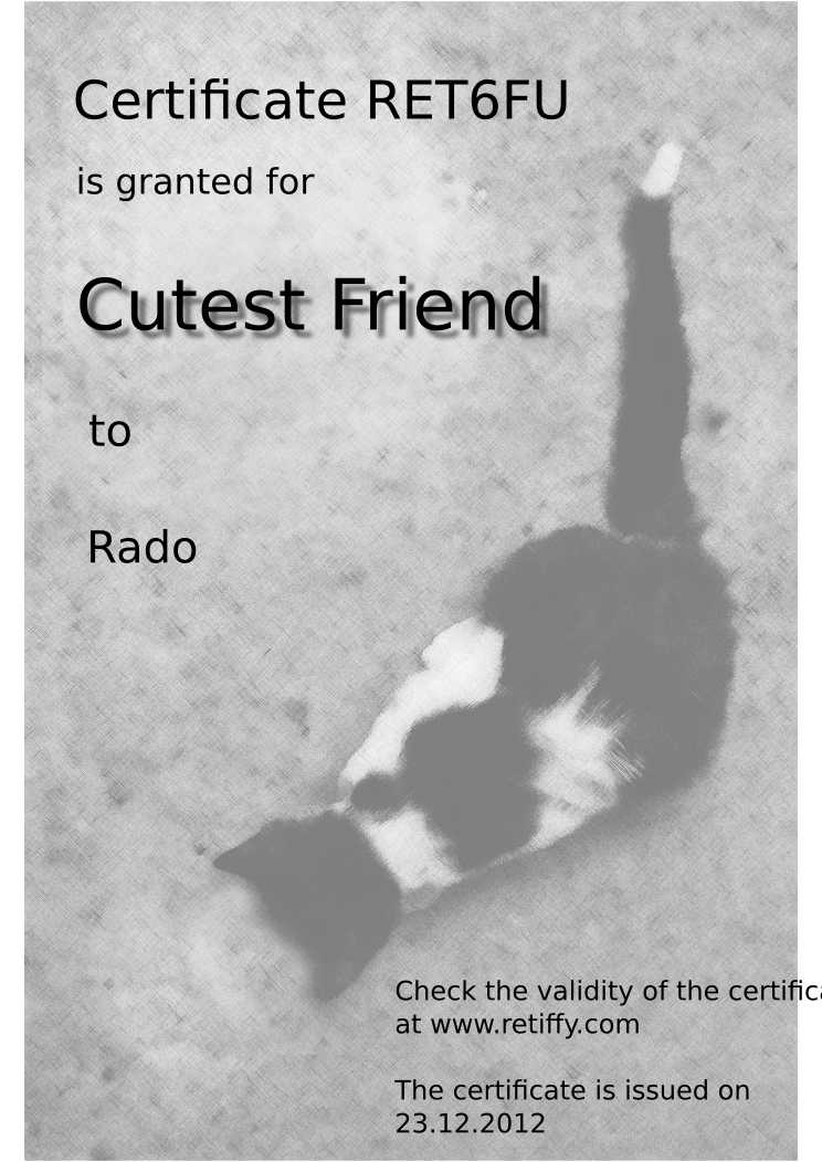 Retiffy certificate RET6FU issued to Rado from template Cutest friend with values,template:Cutest friend,name:Rado,date:23.12.2012