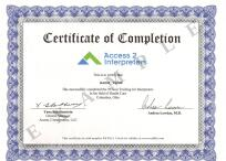 Access 2 Interpreters Certificate, This is an example certificate issued by Access2 Interpreters for a training for Interpreters in the field of Health Care