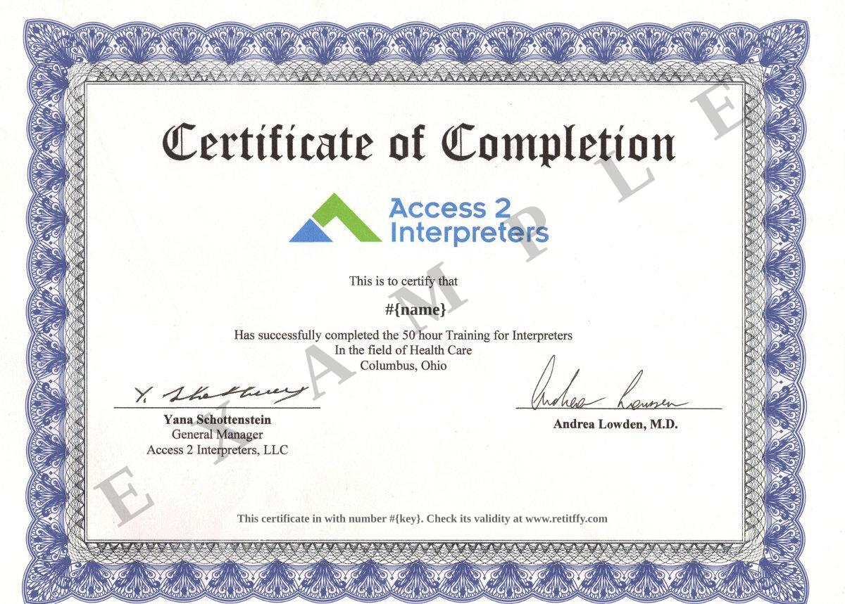 certification template 4 sample certificate of completion – Training Certification Template