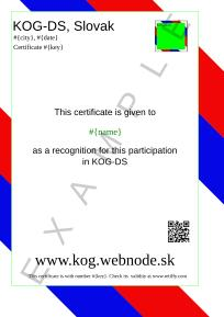 KOG-DS Slovak, This is an example template for a certificate issued by KOG-DS in Slovak