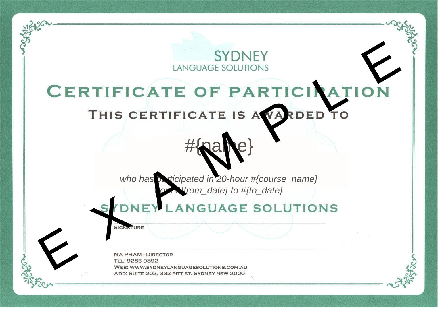 Participation Certificate Template Word Zrom